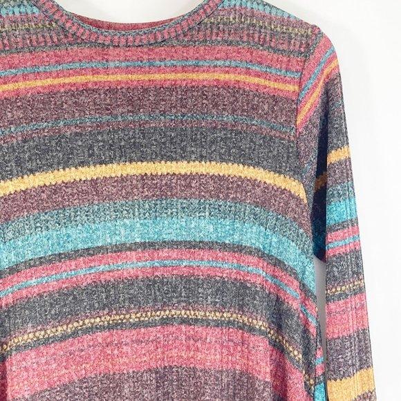 Elan Horizontal Striped Swing Sweater Dress L